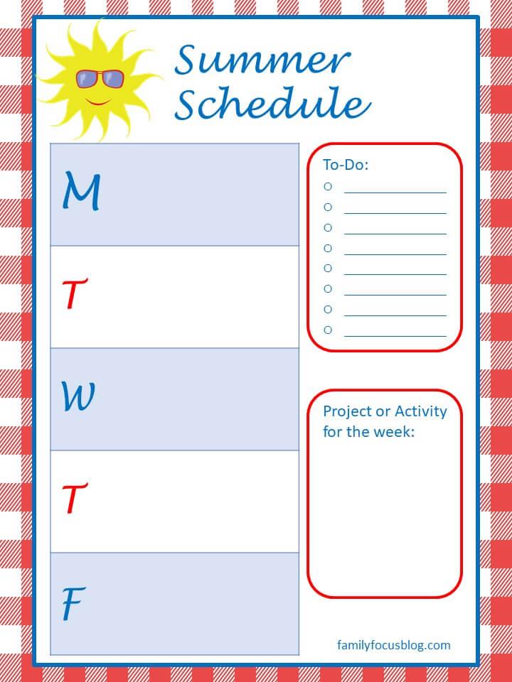 kids summer schedule template