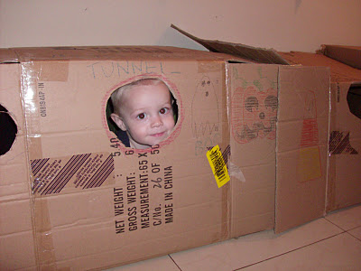 cardboard fort for kids with tunnels / Family Focus Blog