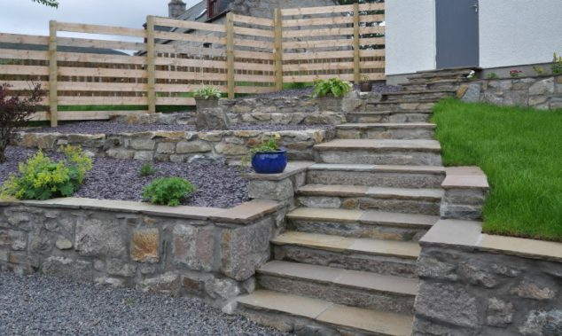 patio design on a hill