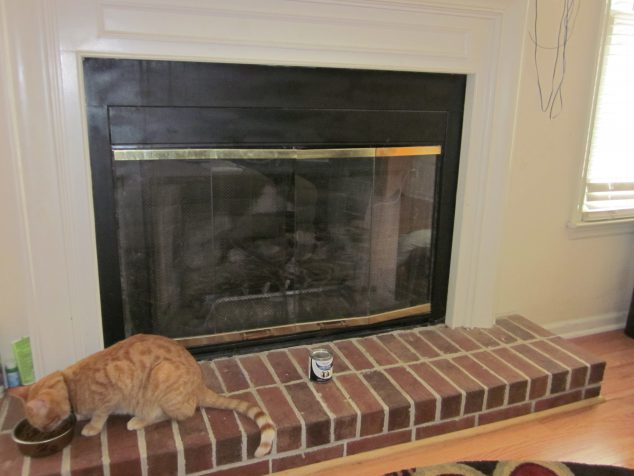 Simple solution for updating Old Bronze Fireplace Glass Doors- so easy!