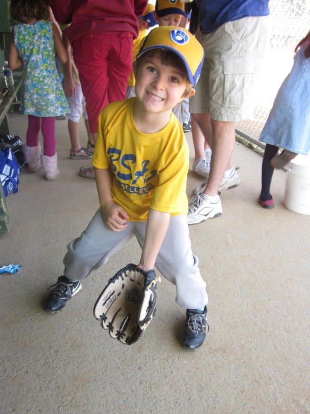 boy with baseball mitt