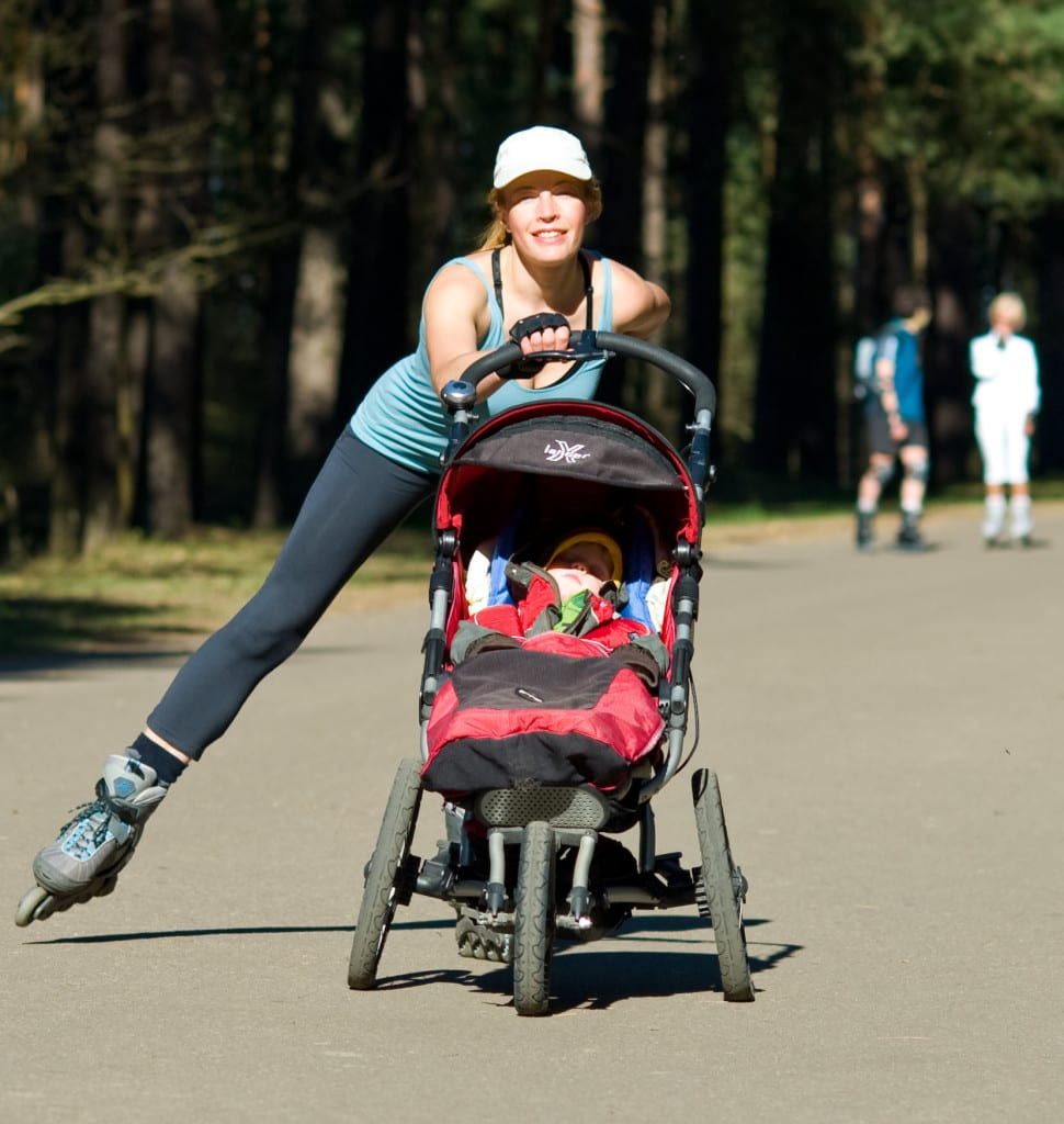 rollerblading strolling