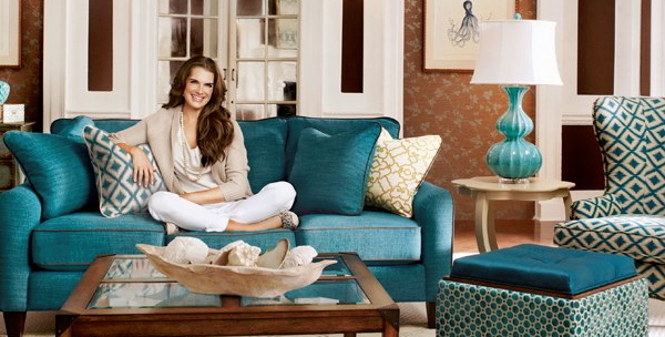 Brooke Shields in a beautiful La-Z-Boy designed living room