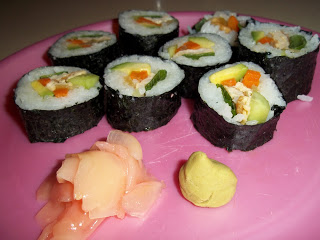 homemade smoked salmon sushi- photo credit Penniless Parenting