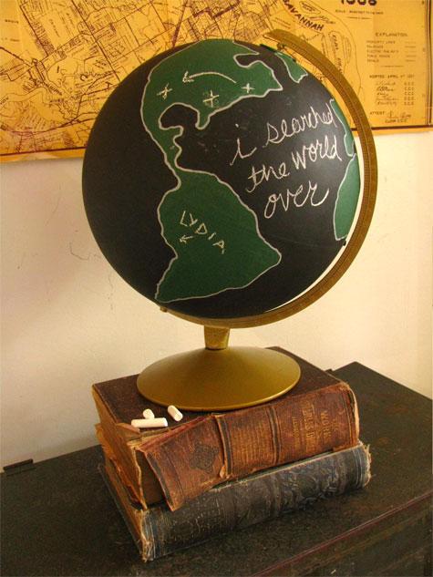 Diy chalkboard globe from design sponge