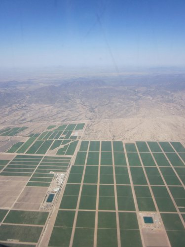 farms from the airplane