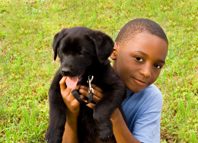 4 ways to teach kids responsibility- child caring for a pet