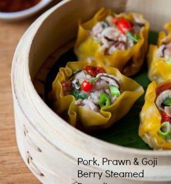 Pork, Prawn & Goji Berry Steamed Dumplings