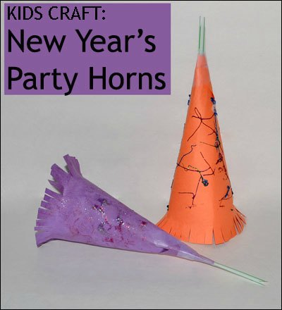 New Year's craft for kids party horns