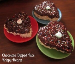 Chocolate Dipped Rice Krispy Hearts