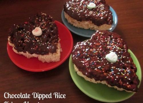 Chocolate Dipped Rice Krispy Hearts