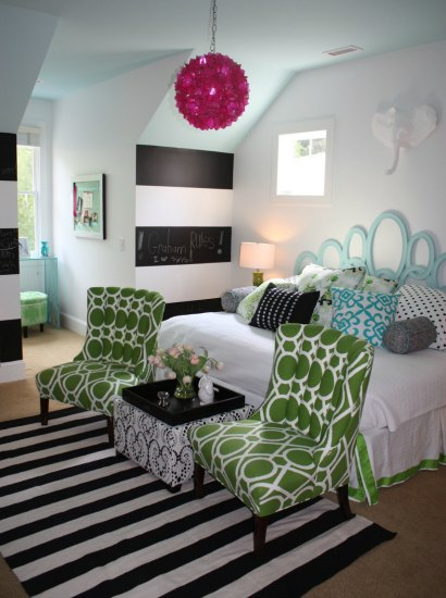 black and white colorful tween room
