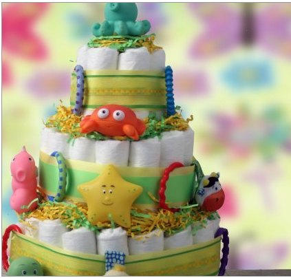 Diaper Cake as Baby Shower Decoration