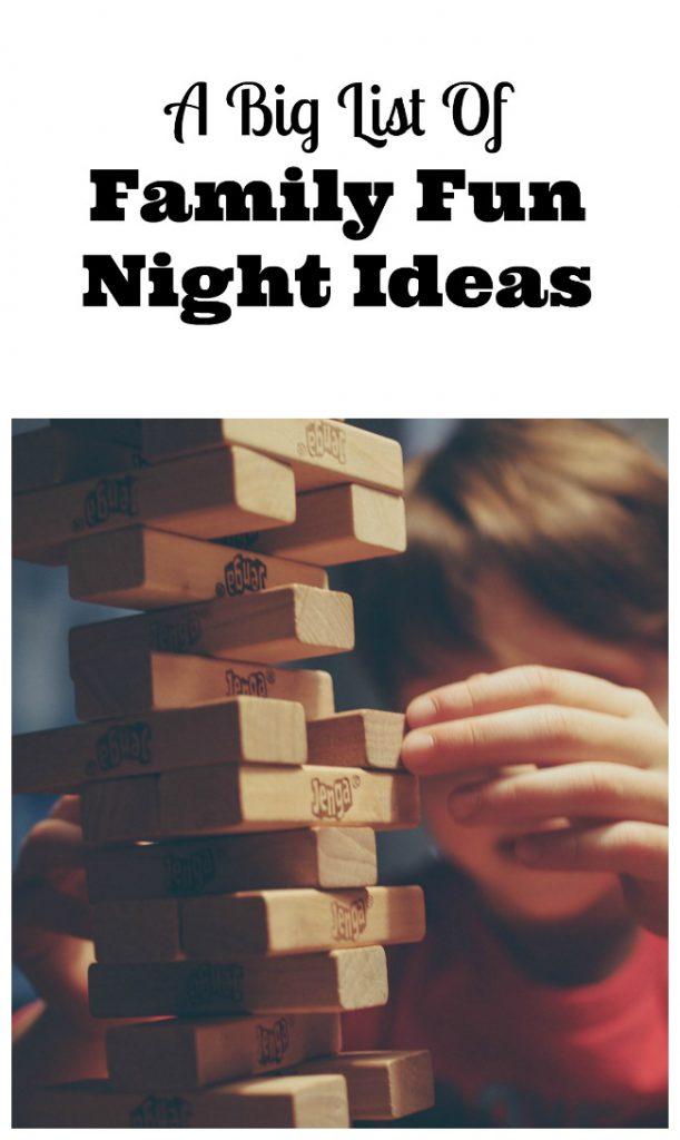 list of family fun night ideas