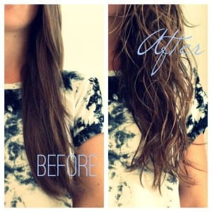 beach hair before and after