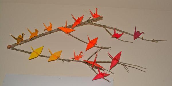 diy origami crane decor family focus blog. Black Bedroom Furniture Sets. Home Design Ideas