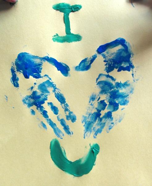 heart finger paint art