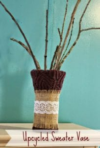 upcycled sweater vase tutorial