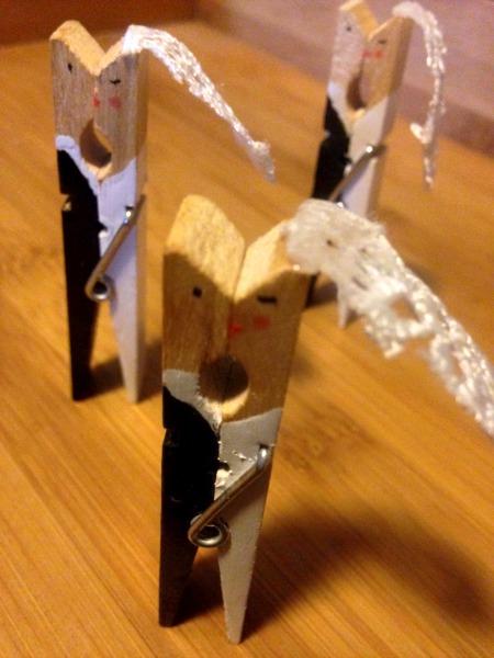 Bride Groom Clothespins dancing