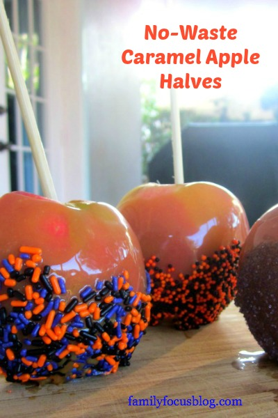 Caramel apple halves with Halloween Sprinkles