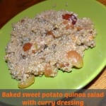 Baked Sweet Potato with Quinoa Salad And Curry Dressing