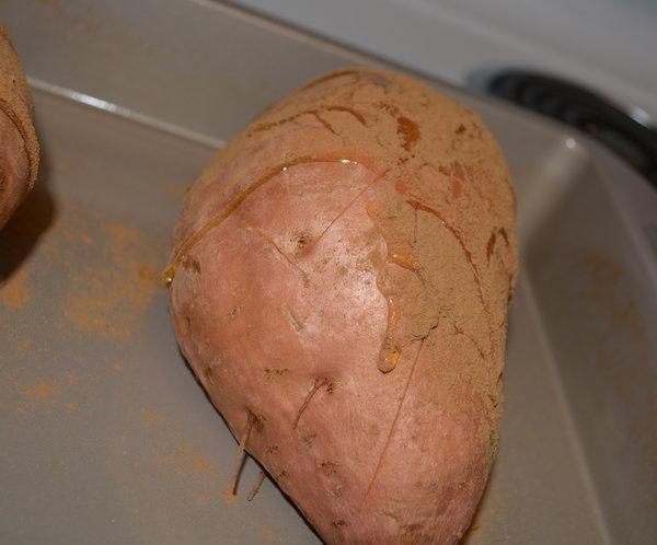 baked sweet potato with quinoa salad