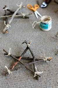 homemade star ornament from sticks