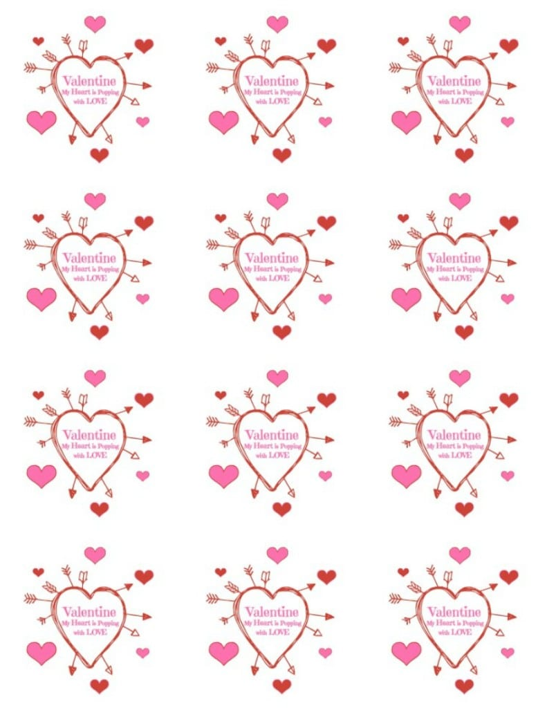 graphic relating to Popcorn Valentine Printable referred to as valentines popcorn white chocolate. 4 aspect valentine