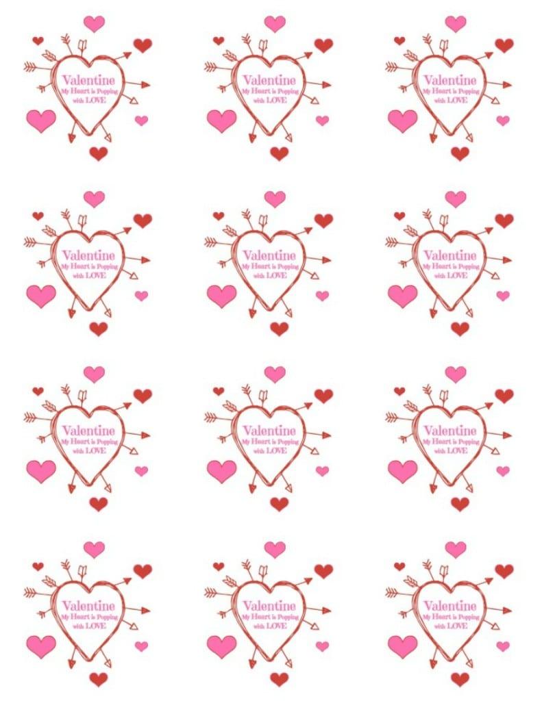 Popcorn Hearts Valentine Treat Printable