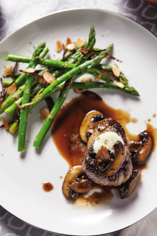 Filet Mignon with Thyme Butter and Sherry Mushrooms
