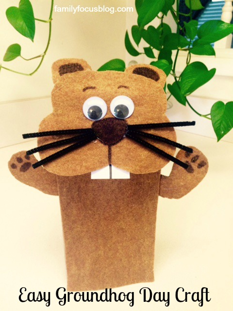 Groundhog day craft how to make a groundhog puppet for Groundhog day crafts for preschoolers