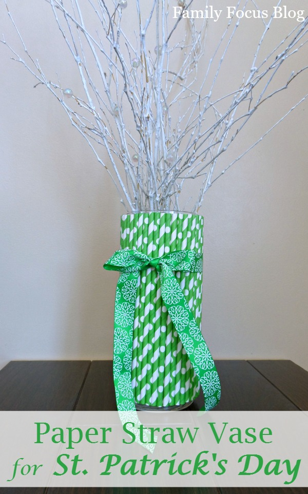 Paper Straw Vase for St. Patrick's Day