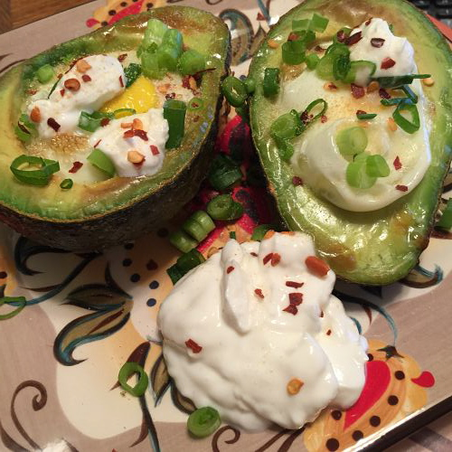 baked stuffed avocado with egg
