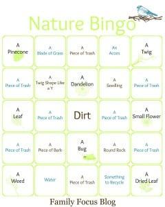 Earth Day Nature Bingo Card Printable