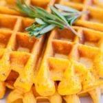 Healthy Waffles Recipe:  Gluten Free Sweet Potato and Rosemary Waffles
