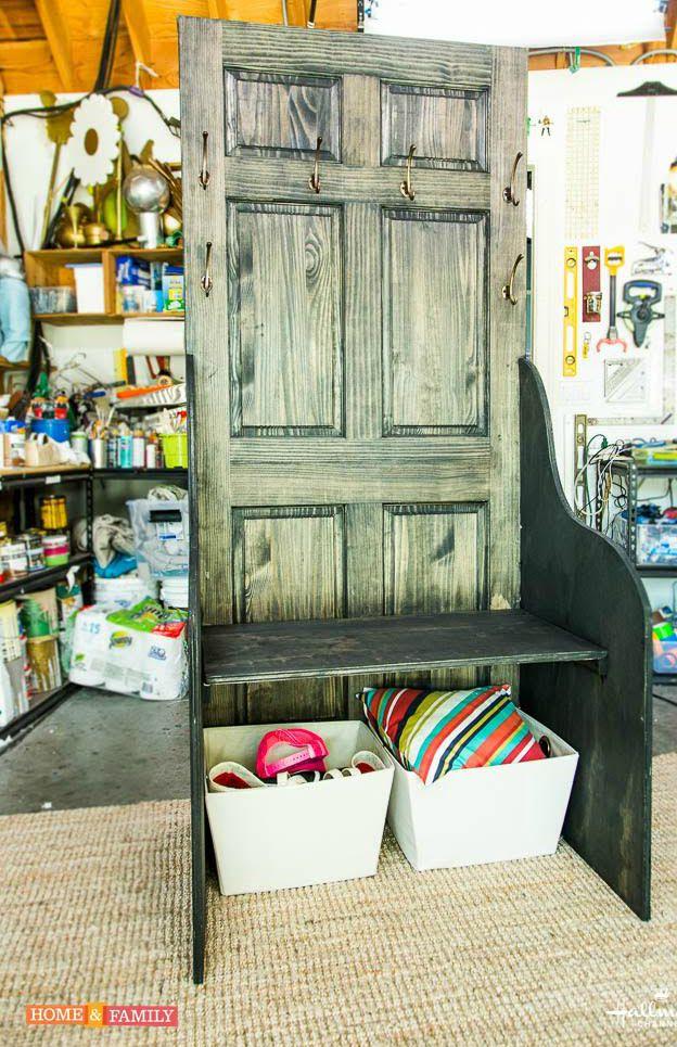 How To Reuse An Old Door- DIY Entryway Bench
