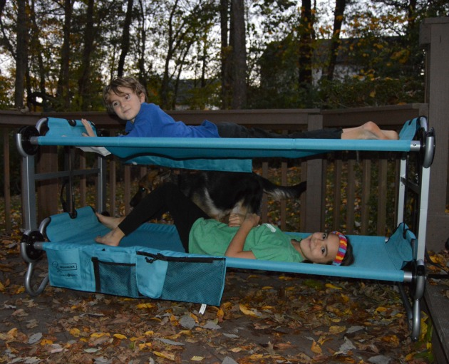 kid-o-bunk portable bunk beds for sleepovers and camping
