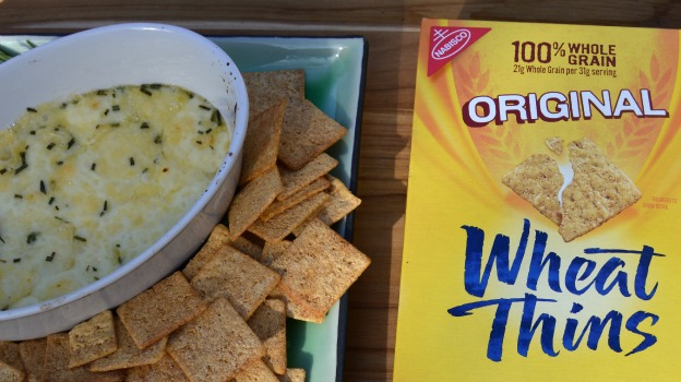 Baked Brie Dip Served With Wheat Thins