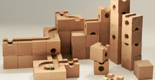 solid wood marble run toy Cuboro
