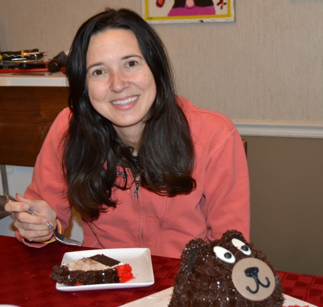 Scarlet Paolicchi with valentine's day cake
