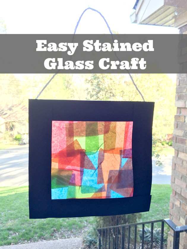 paper tissue stained glass craft for kids