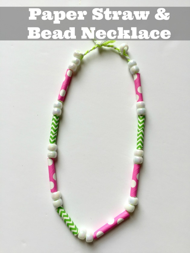 Kids Paper Straw Craft Make A Paper Beads Necklace