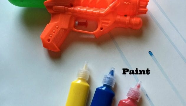 Summer Art Project For Kids:  Water Gun Painting