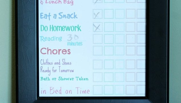 Dry Erase After School Checklist