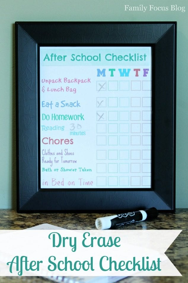 Dry Erase After School Checklist
