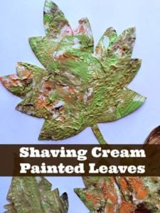 Shaving Cream Painted Leaves: A Fall Art Project