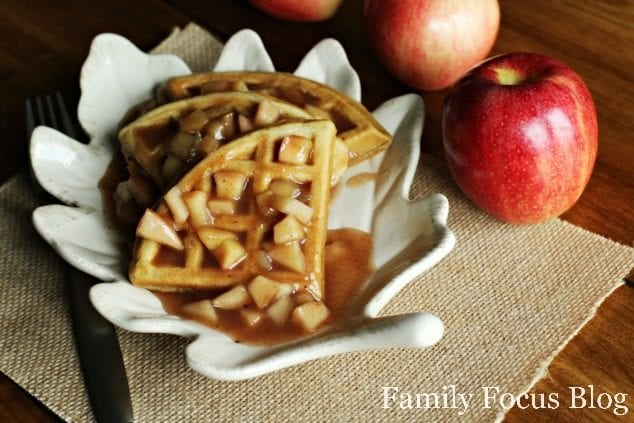 Gluten Free Waffles with Homemade Apple Pie Filling Topping
