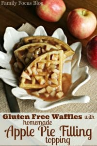 Gluten Free Waffles Recipe with Homemade Apple Pie Filling Topping