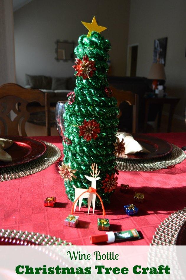 christmas tree glass bottle craft
