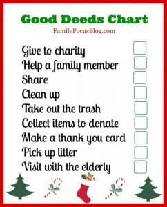 A Good Deeds Chart For Kids To Help Celebrate National Giving Day